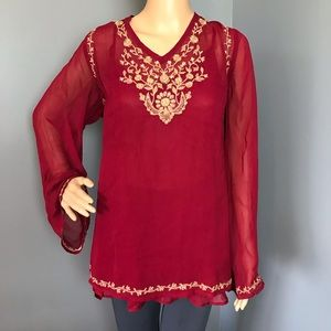 Motherhood Maternity Dress Blouse Red Size XL